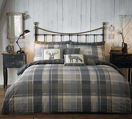 Charcoal Reversible Check - 100% Brushed Cotton Duvet / Quilt Cover Set With Matching Pillowcases - KING SIZE