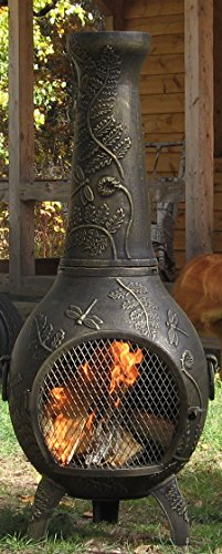 The-Blue-Rooster-Dragonfly-Chiminea-with-Gas-in-Gold-Accent