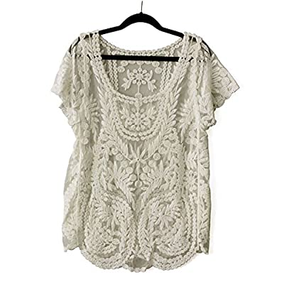 Coromose Womens Floral Semi Sheer Shirt Sleeve T-Shirt Lace Crochet Top Blouse