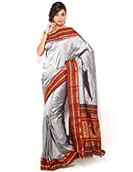 Pure Silk Kanjeevaram Hand Women Saree-Grey-SLV12-VS-...
