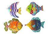 4 Tropical Wood Fish Plaques
