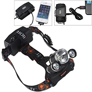 WindFire® 3 X CREE XM-L T6 U2 4 Modes 5000Lm Headlamp 18650 Rechargeable Lamp... by WindFire®