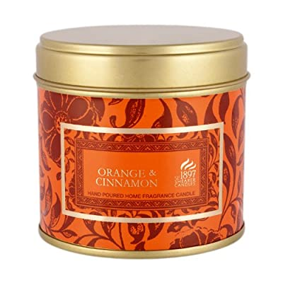 Shearer Candles SC0603 Large Tin Victorian Winter, Orange and Cinnamon Scented Candle in a Gold Funky Tin with Wrap, Orange by Shearer Candles