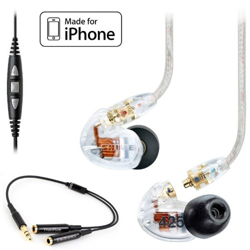 Shure Se425-Cl (Clear) Earphones With Cbl-M-+K Music Phone Cable For Iphone + 3.5Mm Y Cable