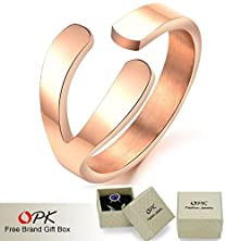 buy Unique New Design Stainless Steel Wishbone Ring Rose Gold Plated Elegant Women Jewelry, 425