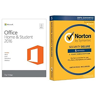 Microsoft Office Home and Student 2016 for Mac Key Card w/ Norton Security Deluxe - 5 Devices [Key Card]