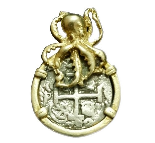 14k Overlayed Octopus Atocha Coin Pendant