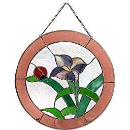 Stained Glass Panel Sun Catcher Ladybug & Lily 13\