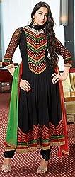 Aayushman Womens Faux Georgette Anarkali Semi-Stitched Dress Material (Sd3012 _Black)