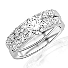buy 1.46 Carat Round Cut Classic Prong Set Bridal Set With Wedding Band And Diamond Engagement Ring (D-E Color, Vs1-Vs2 Clarity)