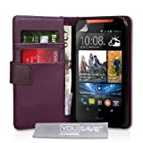 Yousave Accessories Leather Wallet Cover for HTC Desire 310 - Purple