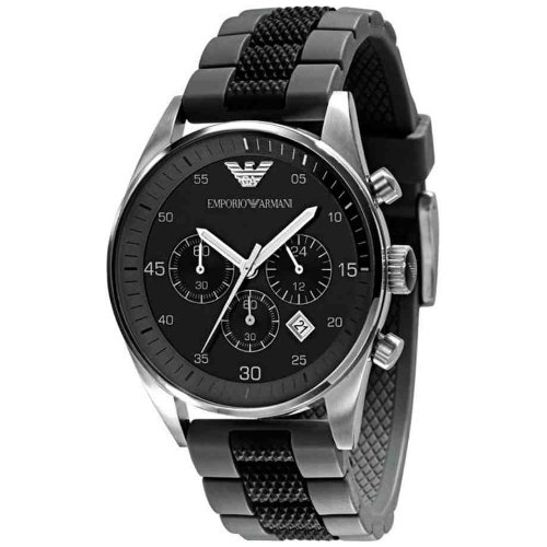 Emporio Armani Gents Chronograph Sports watch, Round Case Black Silicone strap.