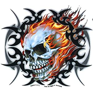 Amazon.com: Hot Leathers - Tribal Flame Skull - Sticker / Decal