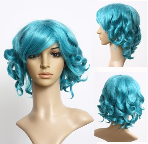 Cosplayland C299 - 30cm short Hair Wig turquoise blue Lolita curly for Cosplay Theater