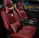 (ファーストクラス)FirstClass フォーシーズン カーシートカバー 車保護シート フロント リアシートカバー ビスコース&PUレザー製 通気性に富む 快適 スムーズ 汎用 5シート車 10枚 全席セット レッド Sサイズ