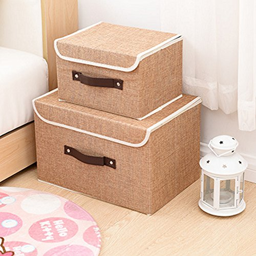 Larger&Small Multifunction Foldable Polyester Linen Canvas Storage Containers,Convenient Cubes Basket Storage Bin with Lid for Clothing,sock,underwear,Toys,Books,Art,Craft supplies ect (Khaki) (Canvas Clothing Storage compare prices)