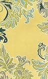 Liora Manne Ravella Ornamental Leaf Border Rug, 42-Inch by 66-Inch, Yellow