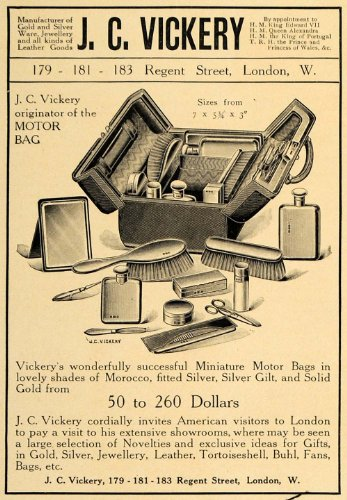 1907-ad-jcvickery-miniature-motor-bag-travel-supplies-original-print-ad