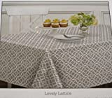 Waverly Easy Care Fabric Tablecloth - Lovely Lattice Gray 100% Polyester Assorted Sizes (52 x 70 Rectangel)
