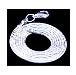 24pcs 18 Inch 925 Shining White Brightening Silver Plated 1.2mm DIY Snake Chain Charms Necklace With Lobster Clasps for Jewelry Making (Shining White Brightening Color)