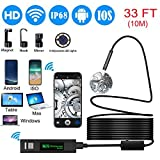 Wireless Endoscope,8mm Wifi Endoscope Camera HD Borescope Inspection Camera Snake Camera with 10M Cable for ISO and Android, iPhone, Samsung, Tablet - Black(33FT) (Color: Black)