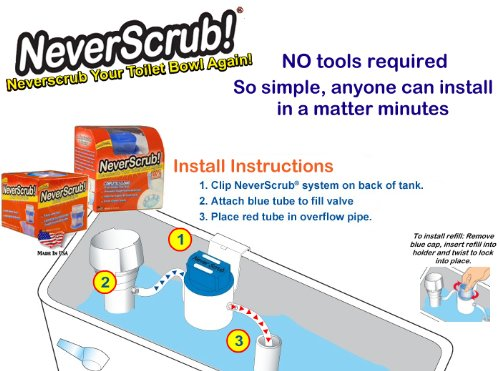 Never Scrub Automatic Toilet Cleaning System New