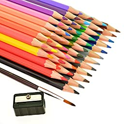 Ishua 48-color Colored Pencils/ Drawing Pencils for Sketch/Secret Garden Coloring Book, Including 1pcs Painting Brush & 1pcs Free Pencil Sharpener
