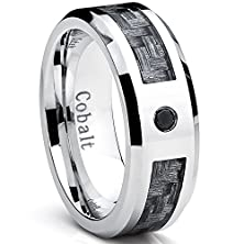 buy Cobalt Men'S Wedding Band Ring With Gray Carbon Fiber Inlay And 0.04 Black Diamond, 8Mm Size 11
