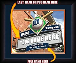 MLB Personalized Sports Pub Custom Framed Hangout Print Detroit Tigers Licensed by You