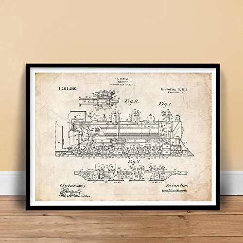 VINTAGE STEAM LOCOMOTIVE 1915 US PATENT ART PRINT BENNETT TRAIN ENGINE GIFT UNFRAMED (5
