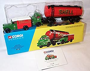 corgi bedford S type cylindrical tanker and land rover set certificate number 0004 1.50 scale limited edition diecast model