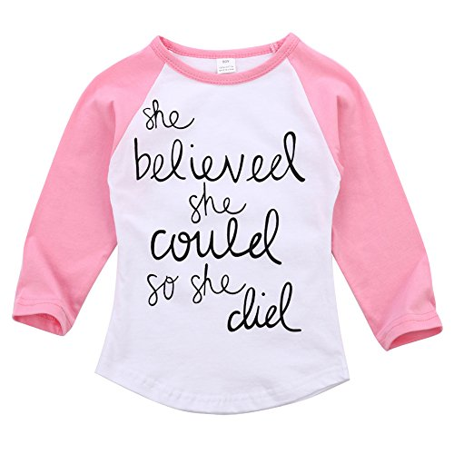 MIOIM Baby Girls Letter Pinted Saying Long Sleeve T-shirt Tops Tees Blouse