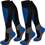 2 Paar Kompressionsstrümpfe schwarz. Tolle Qualität, Spitze handgekettelt in 3 Größen erhältlich Farbe Sport/Blau Größe 39/42