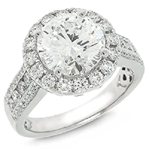 3.00ct Round Brilliant Center and 1.03ct Side 18k White Gold EGL Certified Diamond Engagment Ring