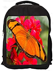 """Snoogg Big Orange Butterfly Casual Laptop Backpak Fits All 15 - 15.6"""" Inch Laptops"""
