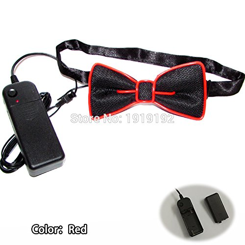 [EL Wire Light Up Party Fashion Tie Bow Ties - Various Colors by Mammoth Sales (Red)] (Super Easy Last Minute Halloween Costumes)