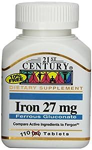 21st Century Iron 27 Mg Ferrous Gluconate Tablets, 110 Count
