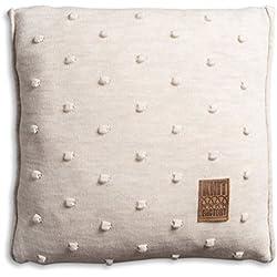Knit Factory 1071212 Dekokissen Strickkissen Noa mit Füllung, 50 x 50 cm, beige