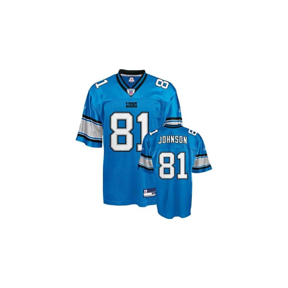 Calvin Johnson Blue Reebok NFL Replica Detroit Lions Youth Jersey