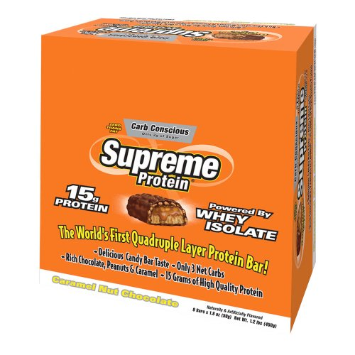 Supreme Protein Carb Conscious Carmel Nut Chocolate Snack Bar - Box of 9