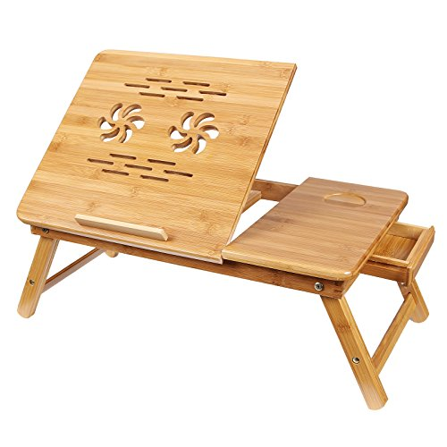 Songmics 100% Bamboo Adjustable Laptop Desk/Table Serving Bed Tray w' Tilting Top