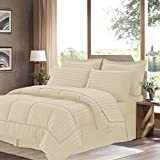 Sweet Home Collection 8 Piece Bed In A Bag With Dobby Stripe Comforter, Sheet Set, Bed Skirt, And Sham Set - King... - B01A1GDKXG