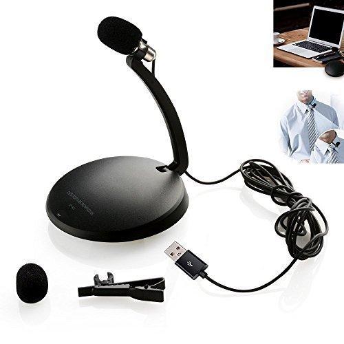 Tonor USB Mini Microfono di Cravatta Clip Pieghevole Con supporto per Skype PC Mac Laptop Computer Cellulare Nero