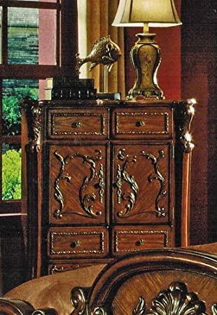 Bedroom Chest with Floral Carvings in Brown Cherry Finish