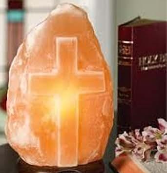 Pastor Appreciation Gift! Inspirational Himalayan Salt Lamp ~ Carved Cross ~ Medium Size ~ 6-8 ...