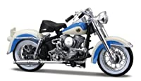 Harley Davidson Duo Glide FLH (1958) in Blue and White (1:18 scale) Diecast Model Motorbike