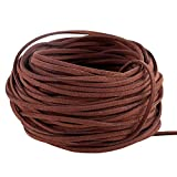 Navifoce Genuine Flat Suede Leather Cord Lace Beading Craft Thread String, 3mm, 20m pool (Caffee) (Color: Caffee)