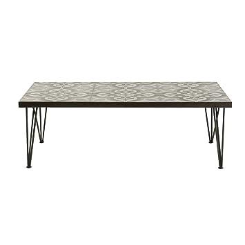 Table basse carreaux de ciment et metal 120 cm Chic-Table basse carreaux de ciment et metal 120 cm Chic