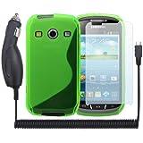 3in1 Set für Samsung Galaxy Xcover 2 S7710 - Grün S-line TPU Silikon Case + Kfz Ladegerät + x3 Displayschutzfolie von PrimaCase