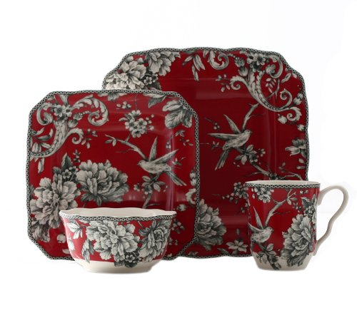 222 Fifth 16-Piece Dinnerware Set, Adelaide Red